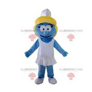 Mascot blauwe smurfin met zijn witte pet - Redbrokoly.com