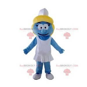 Maskottchen blaue Schlumpfine mit seiner weißen Kappe -