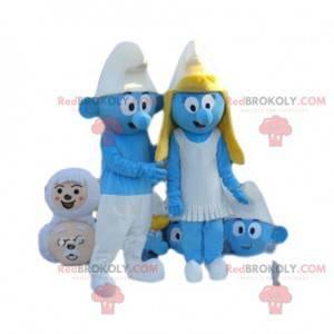 Mascotte blauwe smurf met zijn witte pet - Redbrokoly.com