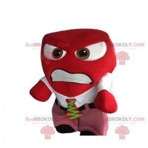 Agresivní červený sněhulák maskot s jeho oblek a kravatu -