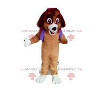 Dog mascot with a purple backpack. Dog costume - Redbrokoly.com