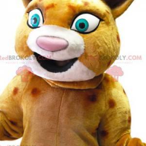 Maskot leoparda se širokým úsměvem, kostým leoparda -