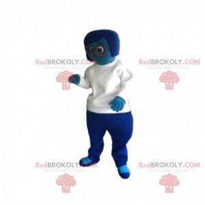 Mascot mujer azul con una camiseta blanca. - Redbrokoly.com