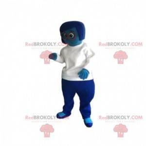 Mascotte donna blu con una maglia bianca. - Redbrokoly.com