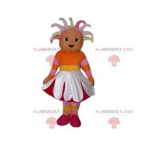 Mascote de menina com fantasia de flor - Redbrokoly.com