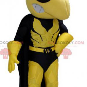 Yellow and black wasp mascot in superhero outfit -