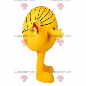 Mascote menina redonda amarela. Fantasia de menina -