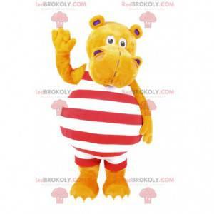 Mascota hippopotamus amarillo en traje de baño a rayas -
