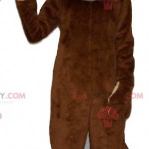 Mascotte scimmia marrone divertente. Costume da scimmia -