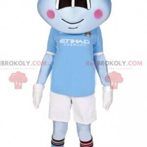 Mascot pequeño alienígena azul en ropa deportiva -