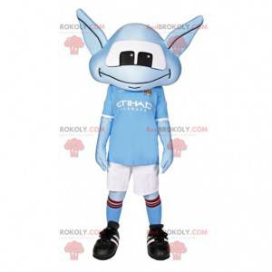Kleine blauwe alien mascotte in sportkleding - Redbrokoly.com