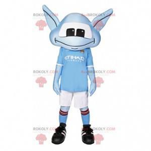 Mascotte piccolo alieno blu in abbigliamento sportivo -
