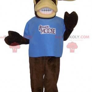 Mascotte caribù molto comica con la sua maglietta blu -