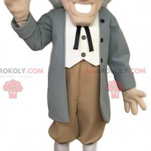 Mascot elegant elderly man with a gray hat - Redbrokoly.com