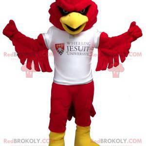 Czerwony i żółty ptak maskotka z białą koszulką - Redbrokoly.com