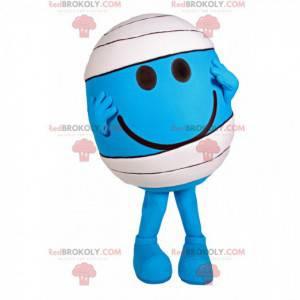 Maskottchen kleiner blauer runder Mann mit einem Verband -