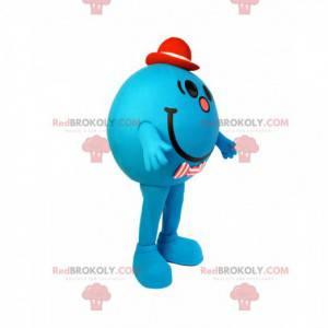 Maskot liten blå og rund mann med rød hatt - Redbrokoly.com