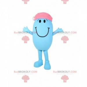 Mascot liten blå og oval mann med rosa hette - Redbrokoly.com