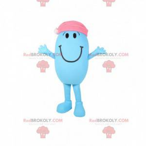 Mascot little blue and oval man with a pink cap - Redbrokoly.com