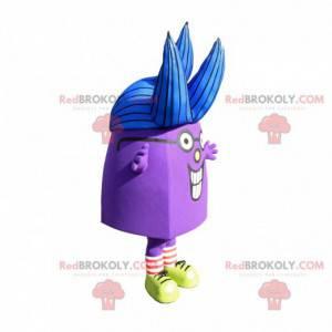 Lila Charakter Maskottchen mit blauen Haaren - Redbrokoly.com