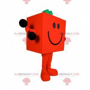 Cube-shaped orange snowman mascot - Redbrokoly.com