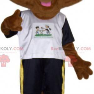Mascota de erizo marrón en ropa deportiva - Redbrokoly.com