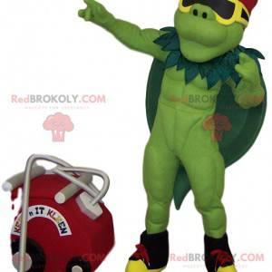 Muskulöses grünes Heldenmaskottchen mit einem grünen Umhang -