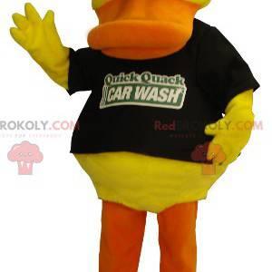 Mascote de pato amarelo e laranja com óculos de sol -