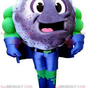 Mascot blackcurrant blueberry in superhero outfit -
