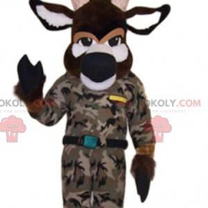 Mascote de veado marrom em camuflagem. Fantasia de cervo -