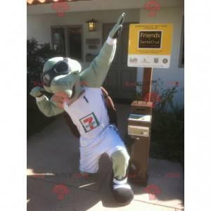 Grøn og brun skildpaddemaskot med aviatorbriller -