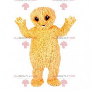 Klein geel harig monster mascotte. - Redbrokoly.com