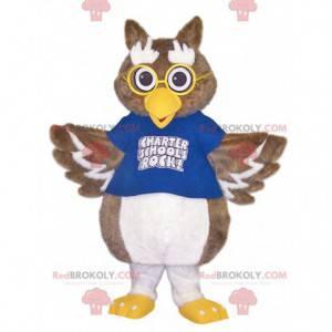 Maskot sova s modrým dresem a brýlemi - Redbrokoly.com