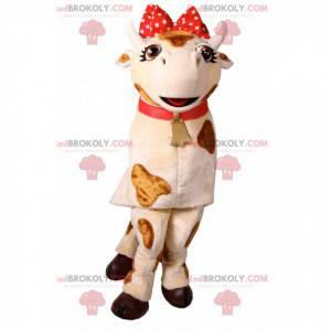 Kráva maskot s uzlem červené puntíky. Kráva kostým -