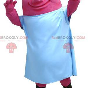 Růžové monstrum maskot růžový s bílým listem - Redbrokoly.com