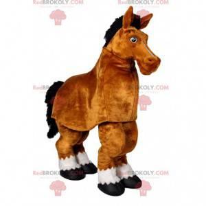 Mascote do cavalo marrom. Fantasia de cavalo marrom -