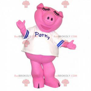 Pink pig mascot with a white jersey. - Redbrokoly.com
