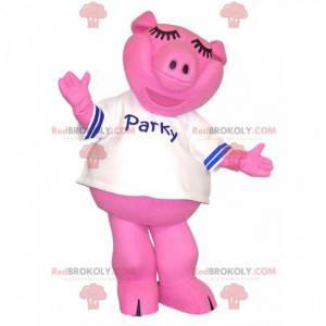 Rosa Schweinemaskottchen mit einem weißen Trikot. -