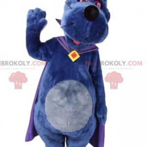 Dog mascot with a purple cape. Dog costume - Redbrokoly.com