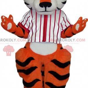 Tiger Maskottchen mit einem weißen Baseballtrikot -