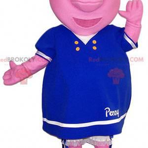 Mascote da porca rosa com um lindo vestido azul. -
