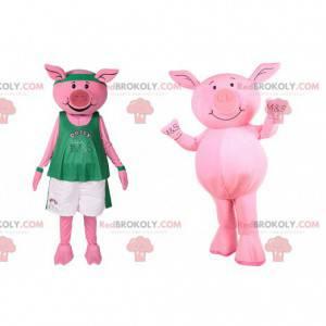 Schweinemaskottchen in Sportbekleidung. Schweinekostüm -