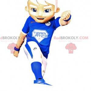 Mascota de niño en ropa deportiva azul y blanca. -