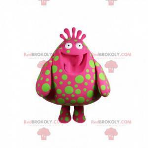 Mascot stor fuchsia dråpe med grønne erter - Redbrokoly.com