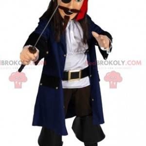 Mascote pirata com uma espada magnífica. Fantasia de pirata -