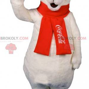 Eisbärenmaskottchen mit rotem Schal - Redbrokoly.com