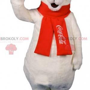 Maskotka niedźwiedź polarny z czerwonym szalikiem -