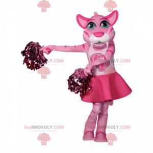 Pink tigress mascot in cheerleader outfit - Redbrokoly.com