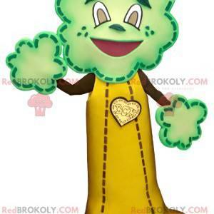 Mascote em forma de árvore gigante marrom amarelo e verde -