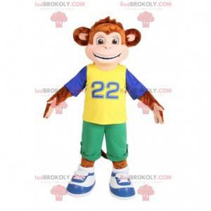 Brązowa małpa maskotka w odzieży sportowej. Kostium małpy -